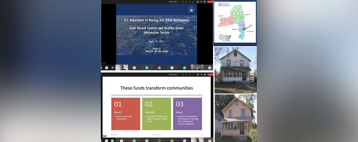 [Virtual Microsoft Teams presentation showcasing a picture of a New Jersey town displaying a message saying that HUD's Office of Field Policy and Management (FPM) and Office of Lead Hazard Control and Healthy Homes (OLHCHH) are hosting a Lead Hazard Control Outreach Session for NY and NJ communities.]. HUD Photo