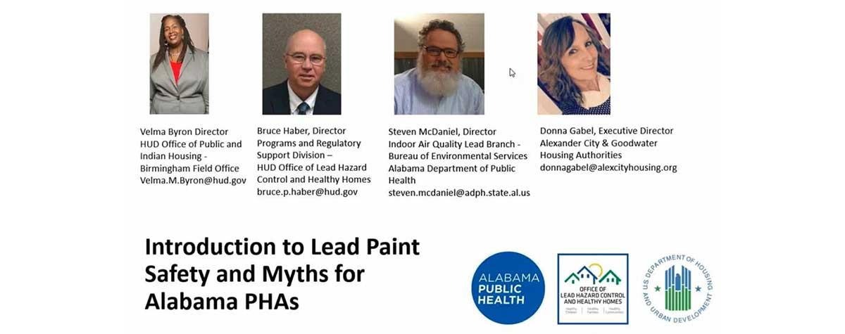 [Introduction to Lead Paint Safety and Myths for Alabama Public Housing educational webinar].
