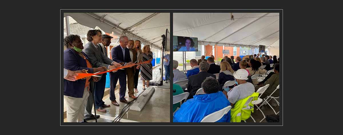 [Left side: Beecher Terrace Choice Neighborhood ribbon cutting ceremony. Right side: HUD Assistant Deputy Secretary Michele Perez virtually congratulates Louisville partners and residents on the grand opening of the first two phases of Beecher Terrace]. HUD Photo