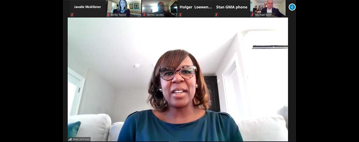 [Shea Johnson, HUD Georgia Operations Director(center) and Georgia Municipal Association members during their 2nd Quarter Virtual Interagency Roundtable update]. HUD Photo