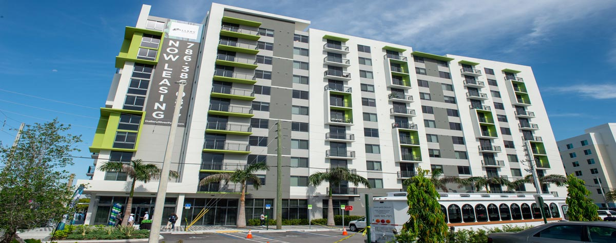 [The Gallery at River Parc consists of 150 units in an eleven-story building: 30 public housing; 45 affordable housing; 75 workforce housing]. Photo courtesy of Miami Dade County, by Armando Raúl Rodríguez