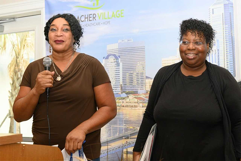 [Residents Ms. Baker and Bessie Ballard shared their life-changing experience of new hope and opportunities after being able to have a place to call home and the services offered at Sulzbacher Village.]