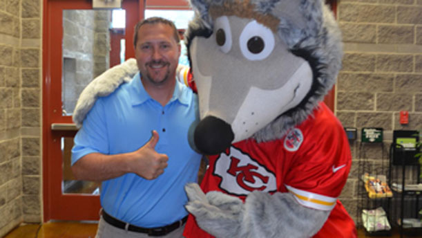 [Great Plains Regional Administrator Jason Mohr and KC Wolf at Kansas City's Strong Families Celebration].