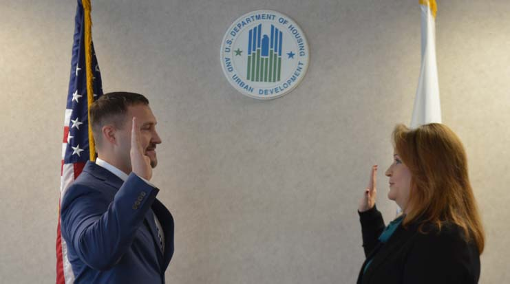 Jason Mohr being sworn in. HUD Photo