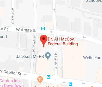 [Map of Jackson showing general location of HUD Office on W. Capitol St. between Bailey Avenue and N. Lamar St.]