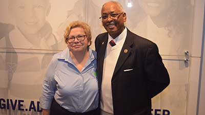 [HUD Alabama Field Office Director Pat Hoban-Moore with Retired Army General and current Jefferson County Commissioner George Bowman.]. HUD Photo