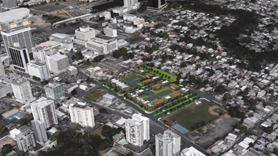 [Aerial view of Las Gladiolas in San Juan]. HUD Photo