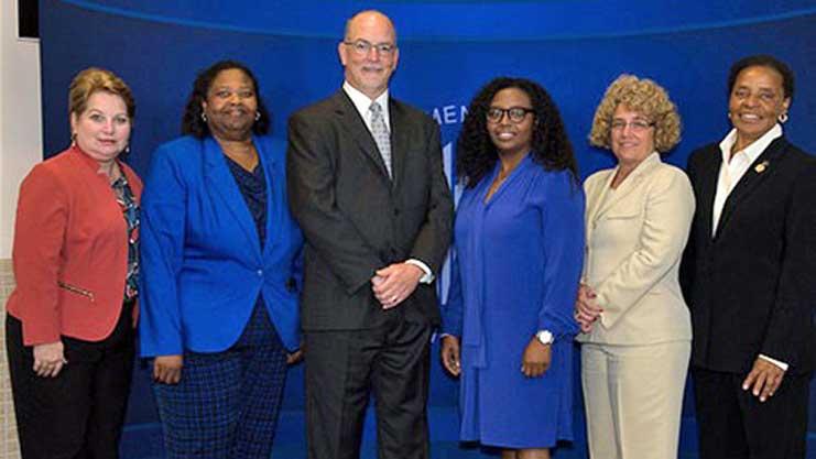 [Secretary Award recipients left to right Carol Spencer, Grennetta Taylor, Jim Cunningham, Towanda Macon, Lindsey Reames, Merilyn Brown]. HUD Photo