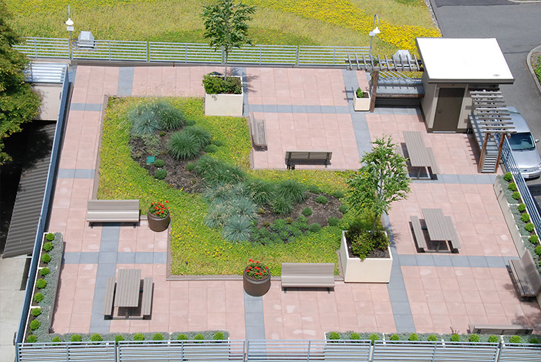 Rooftop garden sits atop public housing in Bellingham, WA.. HUD Photo