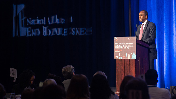 [Secretary Ben Carson Addresses the National Conference on Ending Homelessness]. HUD Photo