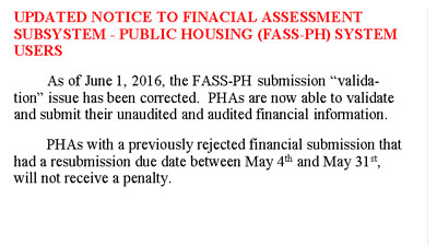 Notice to Financial Assessment Subsystem–Public Housing (FASS-PH) System Users. HUD Photo