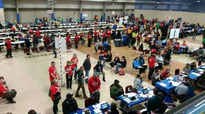 aerial shot of room and exhibitors. HUD Photo