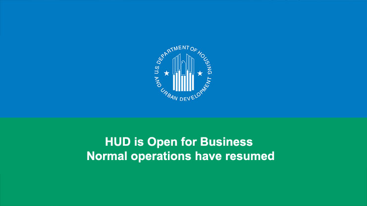 [HUD is Open for Business: Normal operations have resumed]. HUD Photo