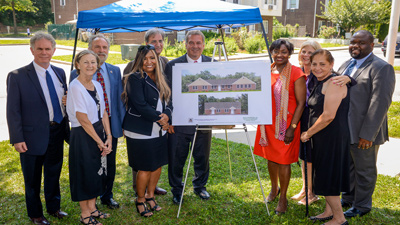 [L to R:  Yonkers Housing Authority Board Members Bob Cacace and Joan Deirlein; Yonkers Councilman Michael Sabatino; HUD Region II Regional Administrator Lynne Patton; Yonkers Mayor Mike Spano, MHACY Executive Director Joseph Shuldiner; NY State Senator Andrea Stewart-Cousins, NY State Assemblywoman Shelley B. Mayer]