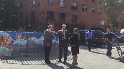 [HUD NY Public Housing Director Luigi D'Ancona, Municipal Housing Authority of the City of Yonkers Executive Director Joe Shuldiner, and HUD Region II RA Lynne Patton tour Yonkers public housing developments]