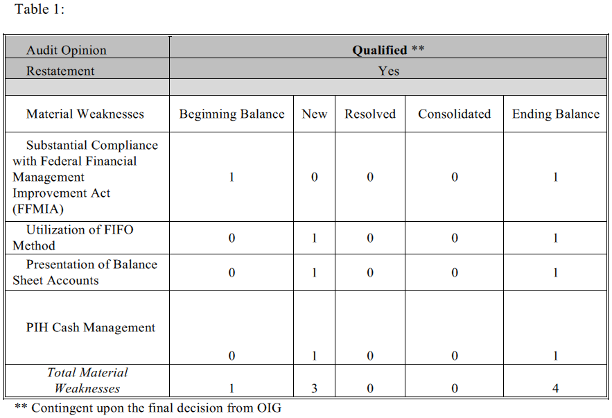 summary of financial statement audit and management assurances