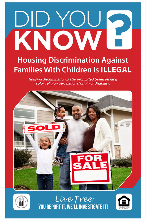Did You Know Discrimination against Families with Children is Illegal handout with African-American family pictured