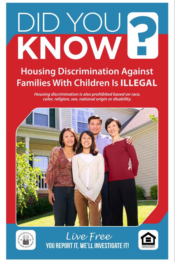 Did You Know Discrimination against Families with Children is Illegal handout with Asian family pictured