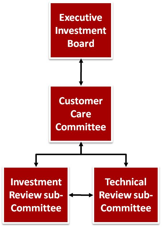Chart of IT Governance structure showing Executive Investment Board, Customer Care Committee, Investment Review Sub-Committee and Technical Review Sub-Committee