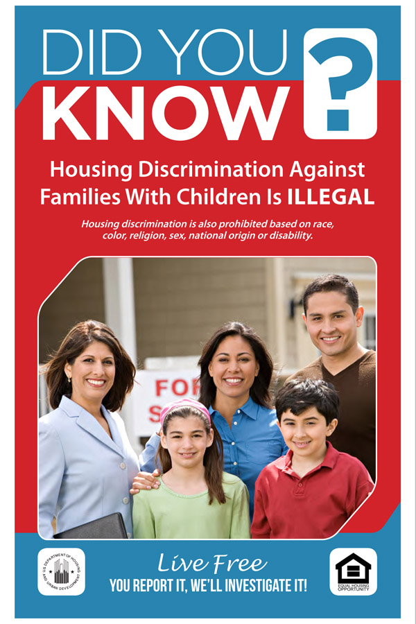 Did You Know Discrimination against Families with Children is Illegal handout with Hispanic family pictured