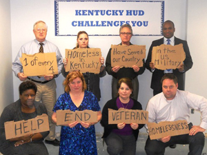 [Photo: HUD Kentucky staff encourages an end to veteran homelessness]