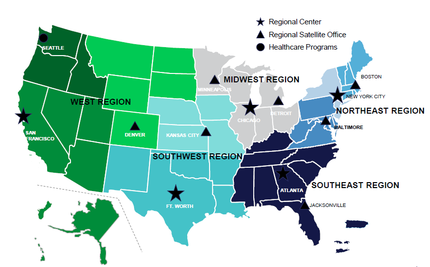 Multifamily Regional Centers and Satellite Offices Map