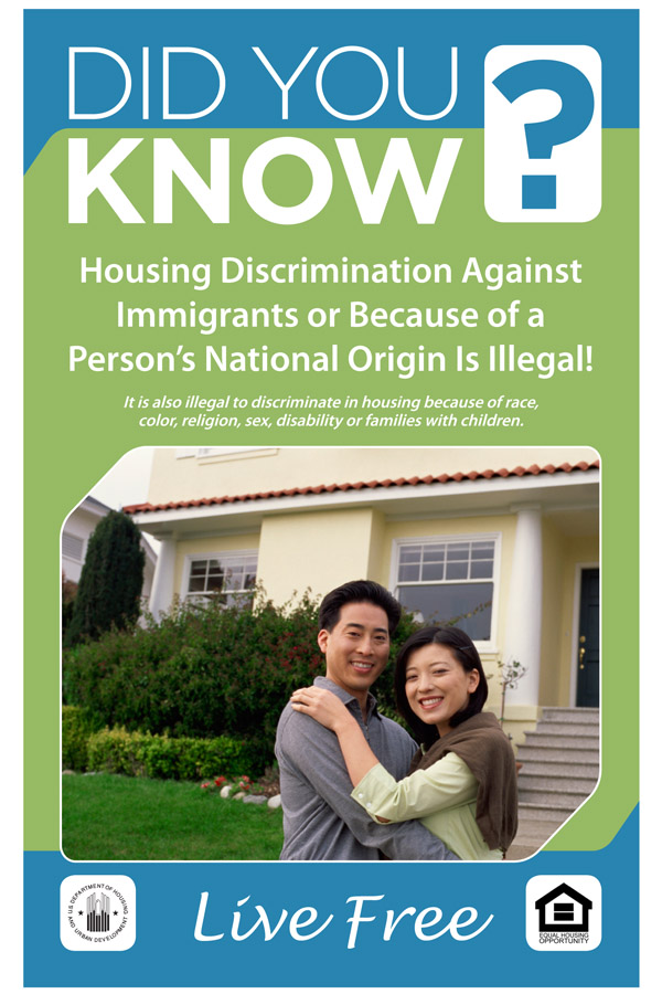 Did You Know Discrimination against Immigrants Due to their National Origin is Illegal handout with Asian family pictured
