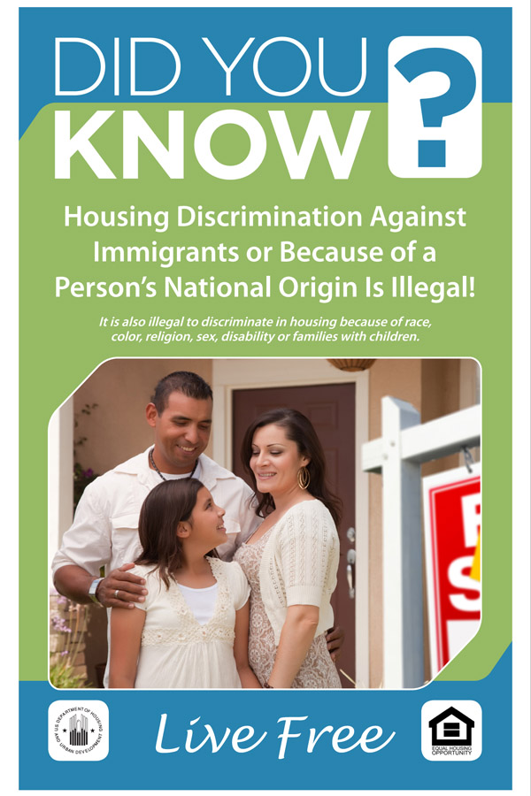 Did You Know Discrimination against Immigrants Due to their National Origin is Illegal handout with Hispanic family pictured