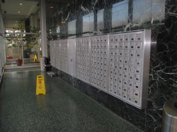 Mailboxes at site.