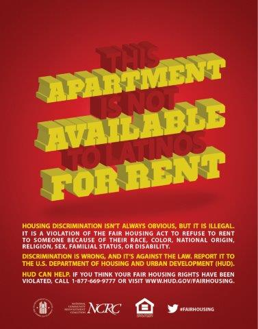 This Apartment is not Available to Latinos for Rent poster