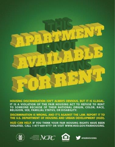 This Apartment is not Available to Asians for Rent poster
