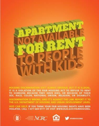 Apartment not Available for Rent to People with Kids poster