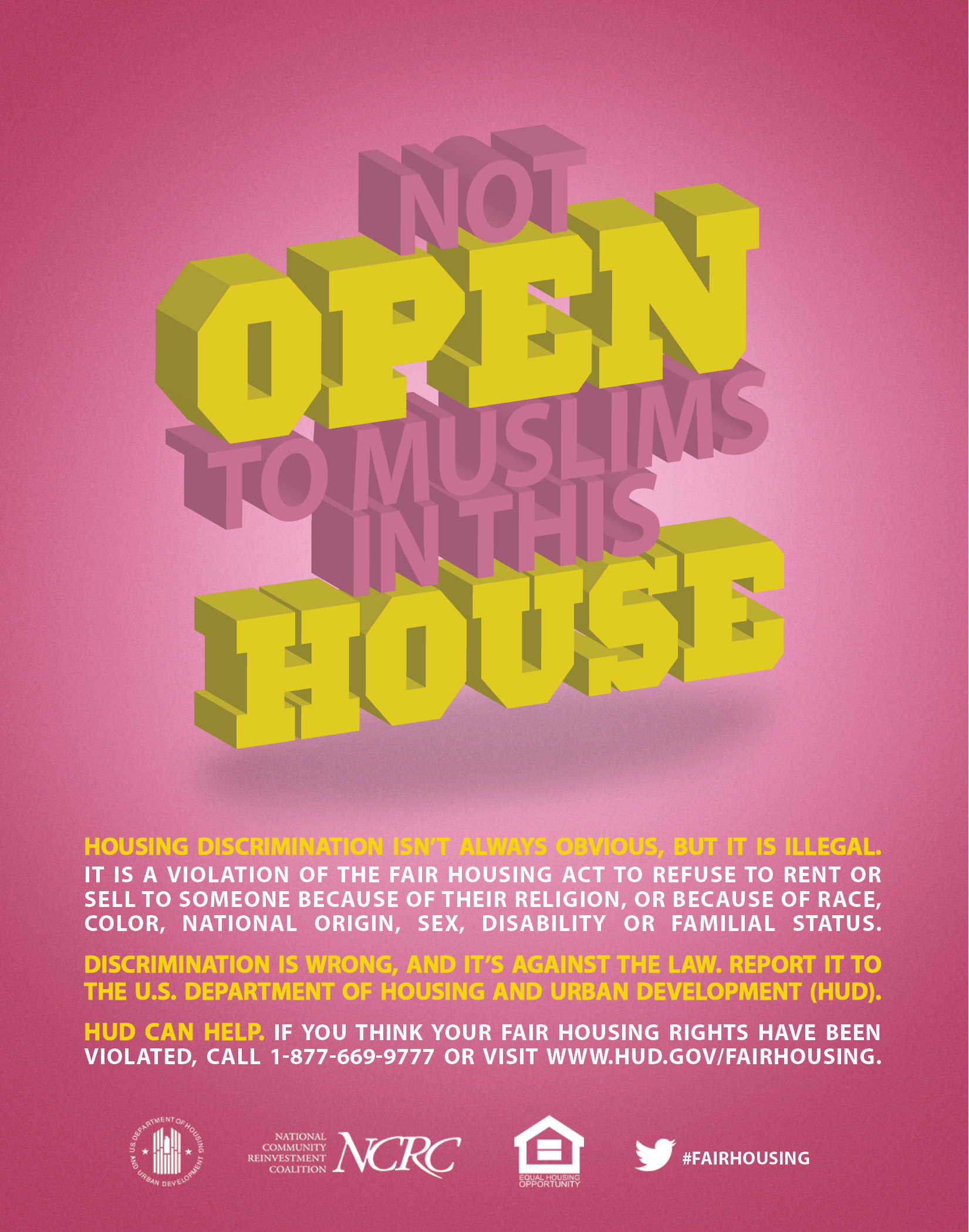Hud us department of housing and urban development hud the not open to muslims in this house poster aljukfo Gallery