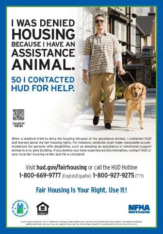 I was Denied Housing Because I have an Assistance Animal poster
