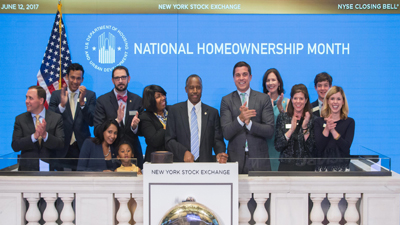 [Secretary Carson rings The NYSE Closing Bell to highlight National Homeownership Month.]
