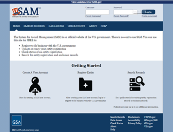 Image of the SAM.GOV getting started screen