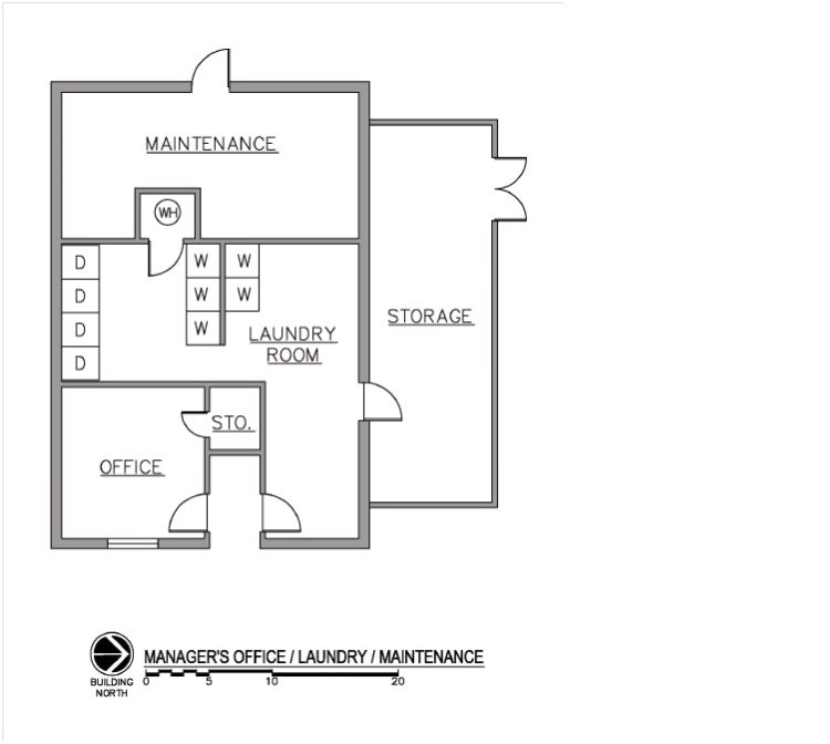 Drawing of office/maintenance/laundry at site.